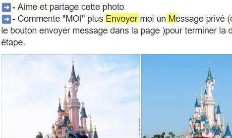 Les Faux Concours et Autres Arnaques sur le Web Utilisant Disneyland Paris